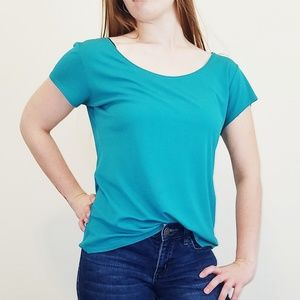Eileen Fisher Teal Short Sleeve Blouse Large